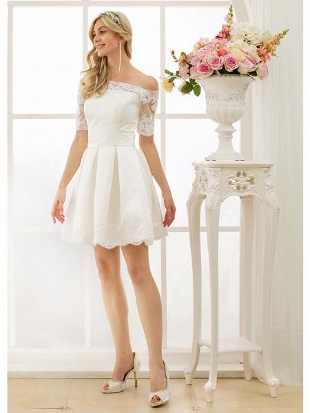 A-Line Wedding Dresses Off Shoulder Short \ Mini Satin Half Sleeve Formal Casual Illusion Detail_3