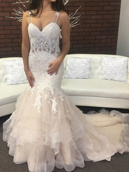 Mermaid \ Trumpet Spaghetti Strap Sweep \ Brush Train Lace Tulle Sleeveless Sexy Backless Wedding Dresses_1