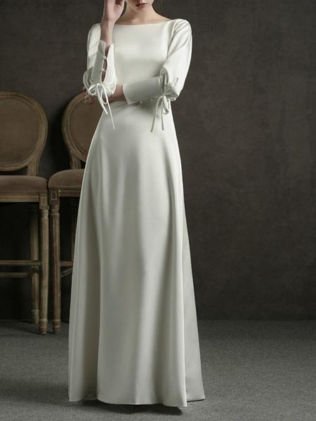 Sheath \ Column Wedding Dresses Jewel Neck Floor Length Satin Long Sleeve Simple Elegant_1