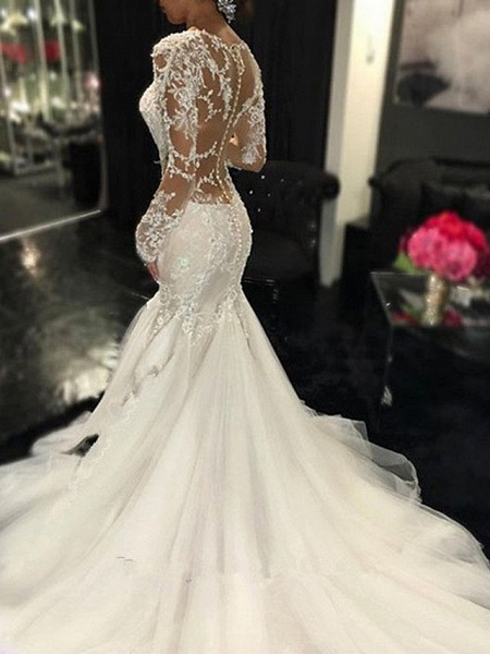 Mermaid \ Trumpet V Neck Sweep \ Brush Train Tulle Long Sleeve Sexy See-Through Backless Illusion Sleeve Wedding Dresses_2