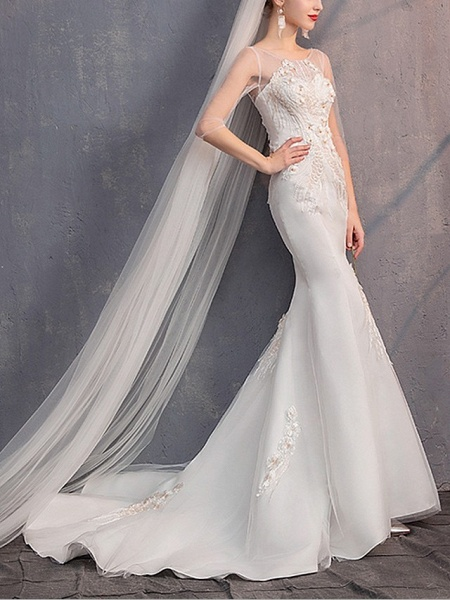 Mermaid \ Trumpet Wedding Dresses Jewel Neck Sweep \ Brush Train Lace Tulle Half Sleeve_2