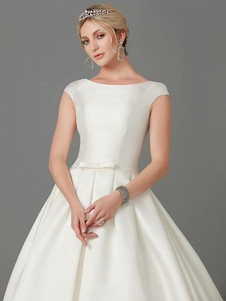 Princess Wedding Dresses Bateau Neck Court Train Satin Short Sleeve_6