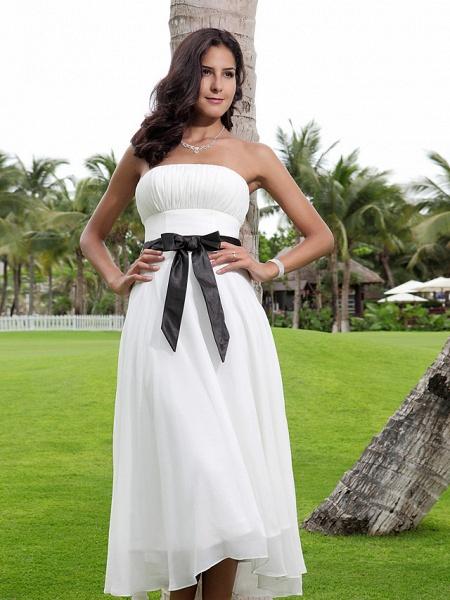 A-Line Wedding Dresses Strapless Tea Length Chiffon Strapless Formal Casual Little White Dress_5