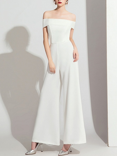 Jumpsuits Wedding Dresses Off Shoulder Floor Length Polyester Cap Sleeve Formal Simple_1