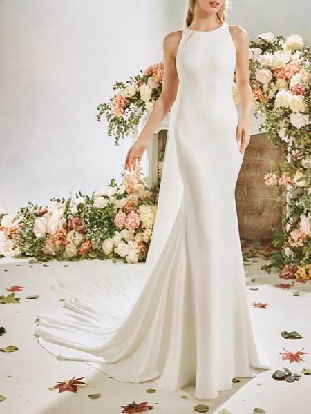 Mermaid \ Trumpet Wedding Dresses Jewel Neck Court Train Stretch Satin Sleeveless Vintage Sexy Wedding Dress in Color See-Through Backless_1