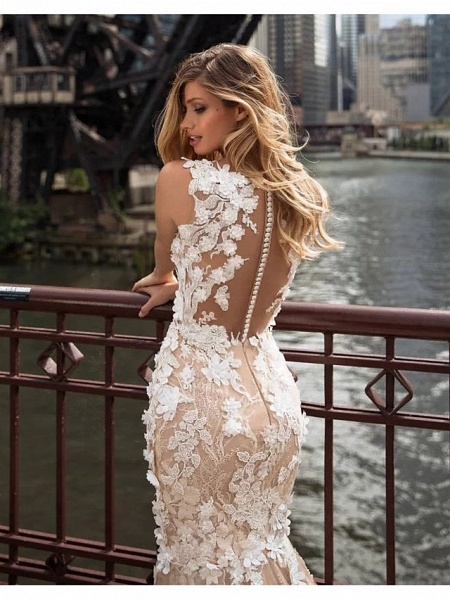 Mermaid \ Trumpet Jewel Neck Chapel Train Lace Tulle Regular Straps Illusion Detail Backless Wedding Dresses_4