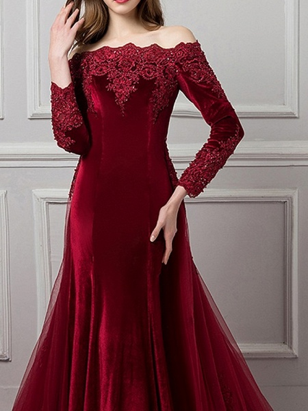 Mermaid \ Trumpet Beautiful Back Red Engagement Formal Evening Dress Off Shoulder Long Sleeve Chapel Train Polyester_2