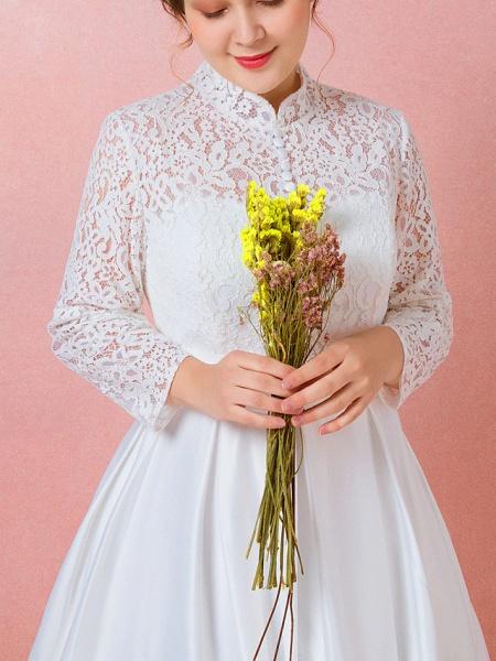 A-Line Wedding Dresses High Neck Floor Length Lace Satin Long Sleeve Formal Simple Plus Size_5