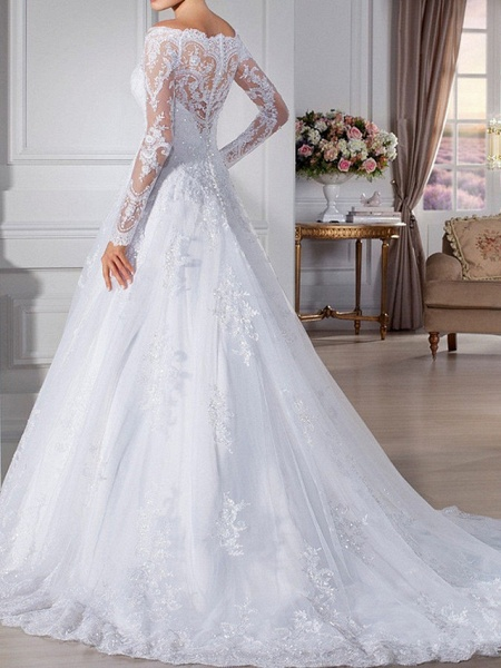 A-Line Wedding Dresses Off Shoulder Sweep \ Brush Train Lace Long Sleeve Formal Illusion Sleeve_2