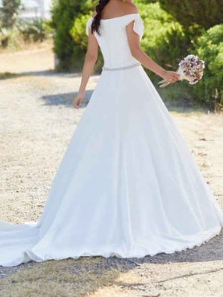 A-Line Wedding Dresses Off Shoulder Sweep \ Brush Train Polyester Cap Sleeve Country Plus Size_2