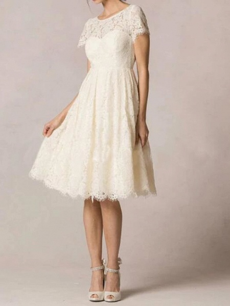 A-Line Wedding Dresses Jewel Neck Knee Length Lace Short Sleeve Casual Little White Dress Plus Size_3