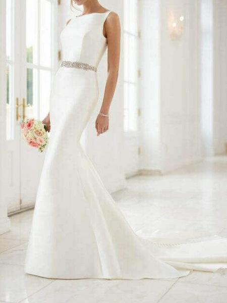 Mermaid \ Trumpet Wedding Dresses Jewel Neck Sweep \ Brush Train Satin Regular Straps Simple Elegant_1