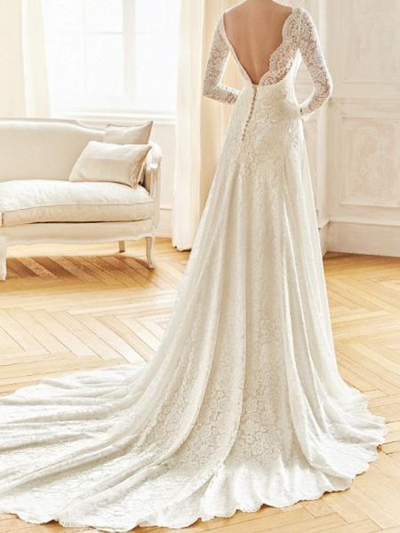 A-Line Wedding Dresses Bateau Neck Sweep \ Brush Train Lace Satin Long Sleeve Formal Backless Illusion Sleeve_2