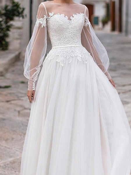 A-Line Wedding Dresses Jewel Neck Floor Length Lace Tulle Long Sleeve Country Plus Size Illusion Sleeve_3