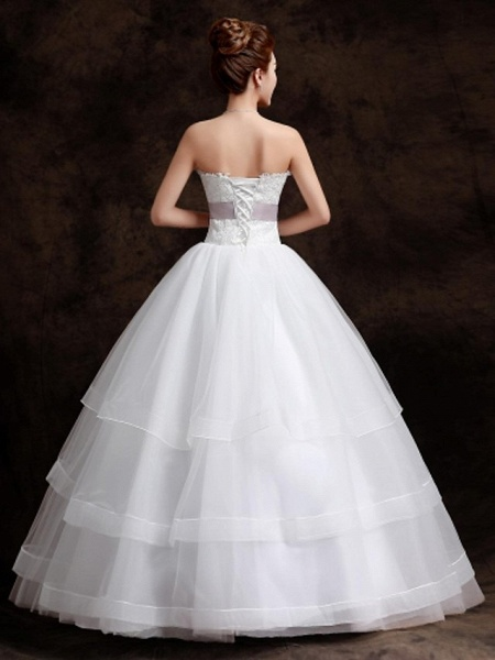 Ball Gown Wedding Dresses Sweetheart Neckline Floor Length Organza Tulle Sleeveless_5