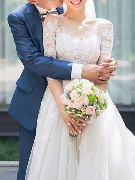 A-Line Wedding Dresses Off Shoulder Sweep \ Brush Train Lace 3\4 Length Sleeve Country Romantic See-Through Illusion Detail_1