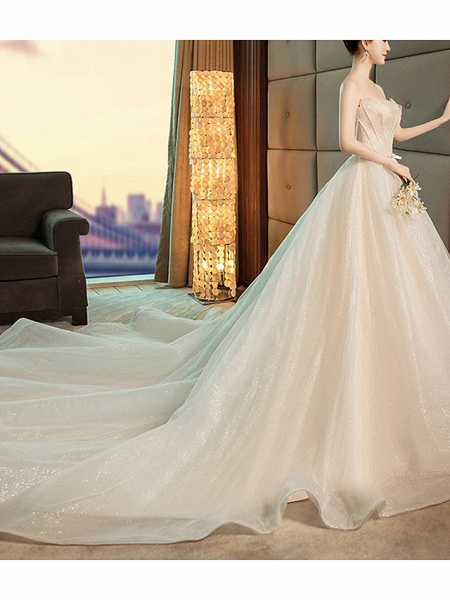 A-Line Strapless Chapel Train Polyester Strapless Wedding Dresses_2