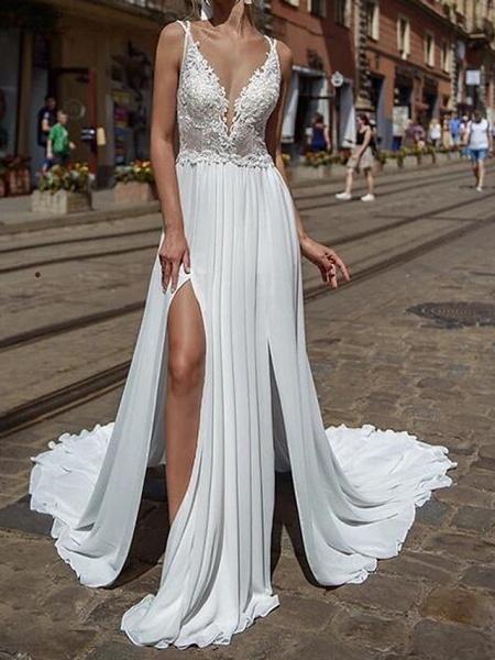A-Line Wedding Dresses V Neck Court Train Chiffon Lace Sleeveless Beach Sexy See-Through_1