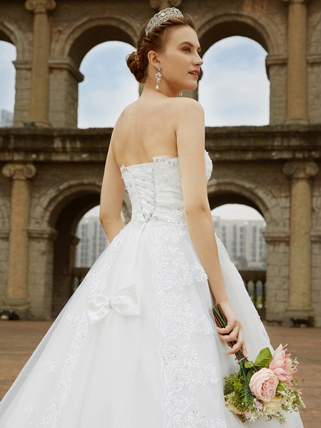 Ball Gown Wedding Dresses Strapless Sweep \ Brush Train Tulle Glitter Lace Strapless Country Sparkle & Shine Backless_9