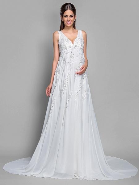 A-Line V Neck Court Train Chiffon Lace Regular Straps Glamorous Illusion Detail Backless Wedding Dresses_1