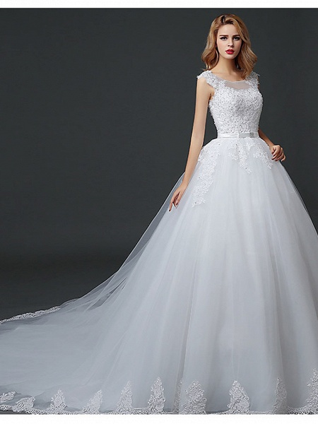 Ball Gown Wedding Dresses Scoop Neck Court Train Lace Tulle Polyester Short Sleeve Romantic_1
