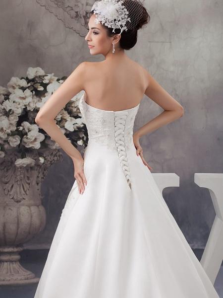 A-Line Strapless Chapel Train Lace Satin Strapless Wedding Dresses_5