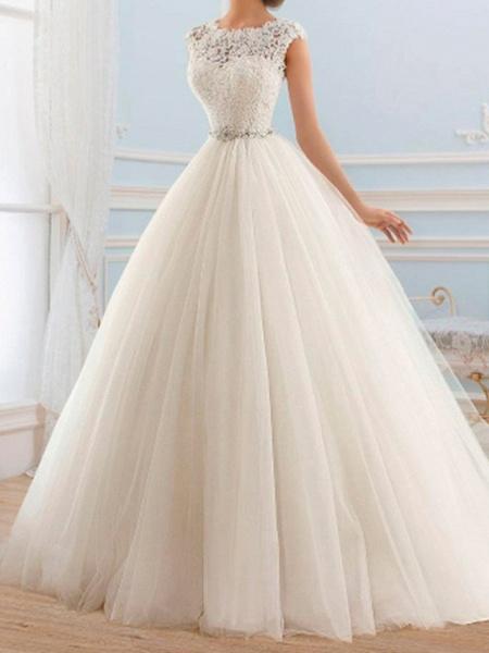 Ball Gown Wedding Dresses Jewel Neck Sweep \ Brush Train Lace Tulle Cap Sleeve Glamorous Vintage Sparkle & Shine Illusion Detail_1