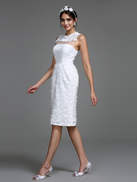 Sheath \ Column Wedding Dresses Jewel Neck Short \ Mini Chiffon Regular Straps Romantic Casual See-Through Plus Size Backless_4
