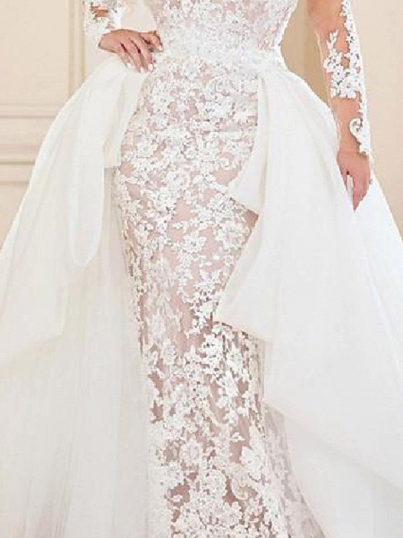 Mermaid \ Trumpet V Neck Sweep \ Brush Train Lace Organza Long Sleeve Country Plus Size Wedding Dresses_3