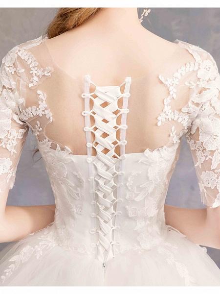Ball Gown Wedding Dresses Sweetheart Neckline Floor Length Lace Tulle Half Sleeve Glamorous See-Through Illusion Sleeve_5