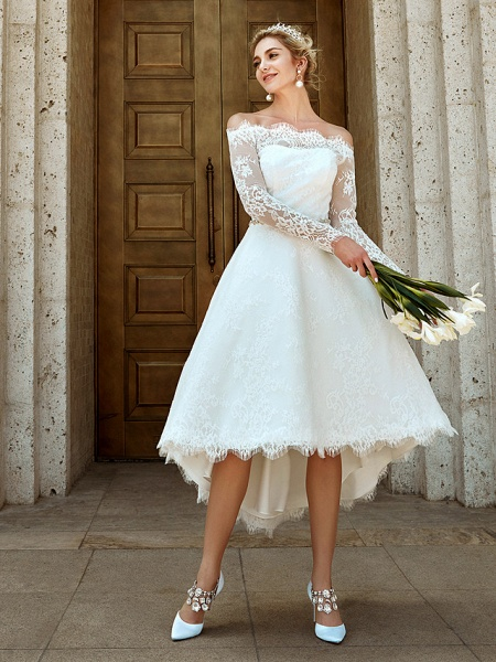 A-Line Wedding Dresses Off Shoulder Asymmetrical Lace Long Sleeve Casual Plus Size Illusion Sleeve_4
