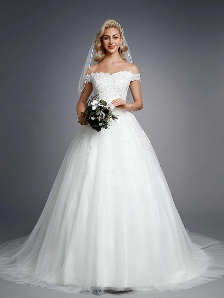 Ball Gown Wedding Dresses Off Shoulder Court Train Lace Tulle Short Sleeve Romantic Sparkle & Shine_5