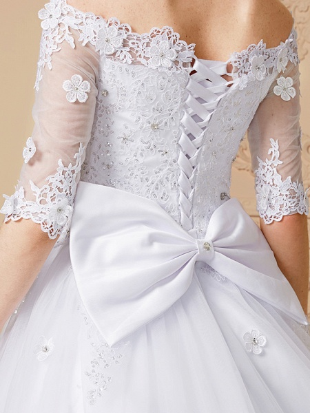 Ball Gown Wedding Dresses Off Shoulder Court Train Lace Tulle Half Sleeve Sparkle & Shine Open Back Cute_8