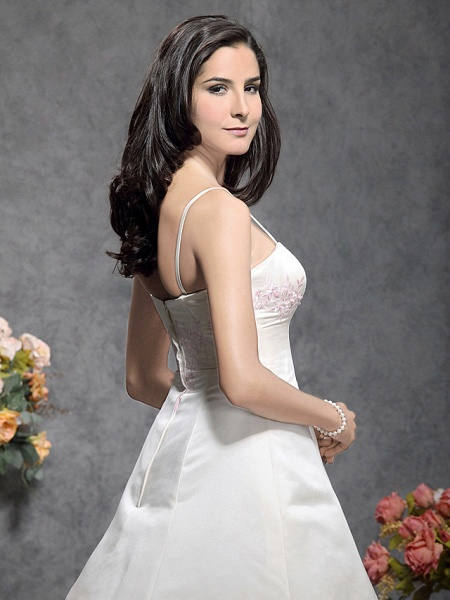 Princess A-Line Wedding Dresses Square Neck Floor Length Satin Tulle Spaghetti Strap Wedding Dress in Color_5