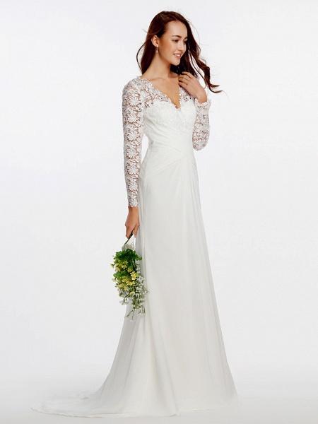 Sheath \ Column Wedding Dresses V Neck Sweep \ Brush Train Chiffon Floral Lace Long Sleeve Romantic Boho Little White Dress Illusion Sleeve_4