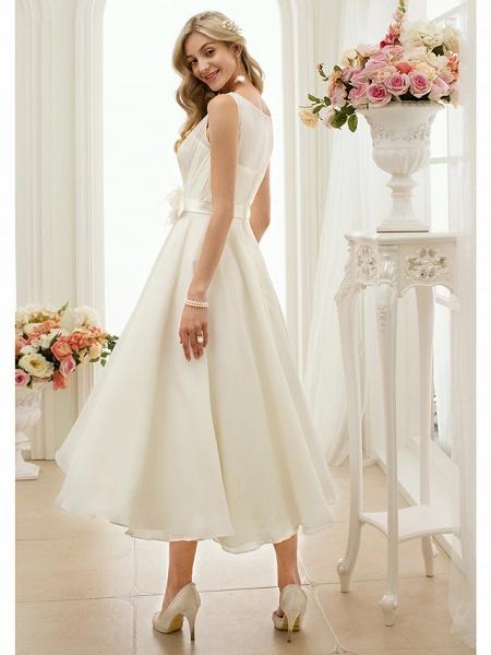 A-Line Wedding Dresses Bateau Neck Tea Length Chiffon Regular Straps Vintage Little White Dress 1950s_2