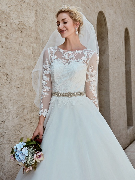 Ball Gown Wedding Dresses Bateau Neck Chapel Train Lace Tulle Long Sleeve Beautiful Back Illusion Sleeve_12
