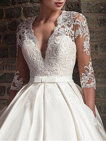 A-Line Wedding Dresses V Neck Floor Length Satin Half Sleeve Formal Plus Size Illusion Sleeve_3