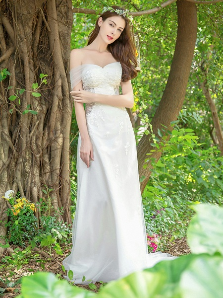 A-Line Wedding Dresses V Neck Court Train Lace Tulle Sleeveless_4