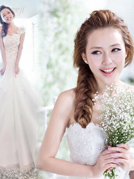 A-Line Wedding Dresses One Shoulder Floor Length Tulle Regular Straps Plus Size_3