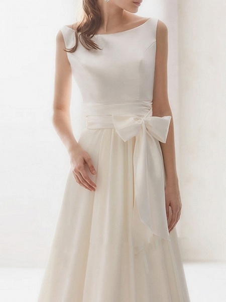 A-Line Wedding Dresses Bateau Neck Sweep \ Brush Train Chiffon Regular Straps Simple Elegant_3