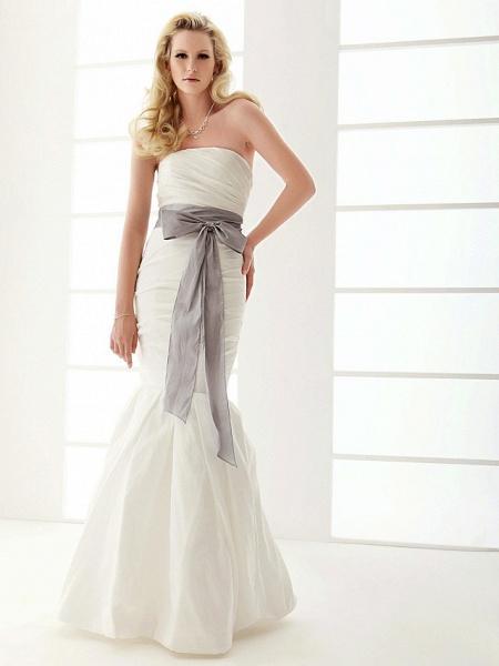 Mermaid \ Trumpet Wedding Dresses Strapless Floor Length Taffeta Sleeveless Wedding Dress in Color_2