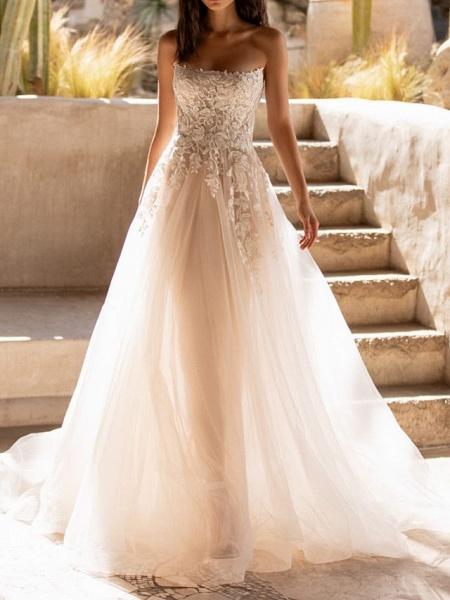A-Line Wedding Dresses Sweetheart Neckline Sweep \ Brush Train Tulle Sleeveless Formal See-Through_1