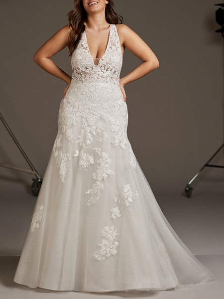 Mermaid \ Trumpet Wedding Dresses V Neck Sweep \ Brush Train Lace Tulle Regular Straps Plus Size_1