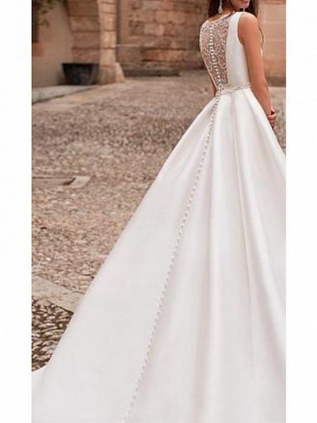 A-Line Wedding Dresses Jewel Neck Court Train Satin Regular Straps_2