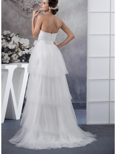 A-Line Wedding Dresses Strapless Sweep \ Brush Train Satin Tulle Strapless_3
