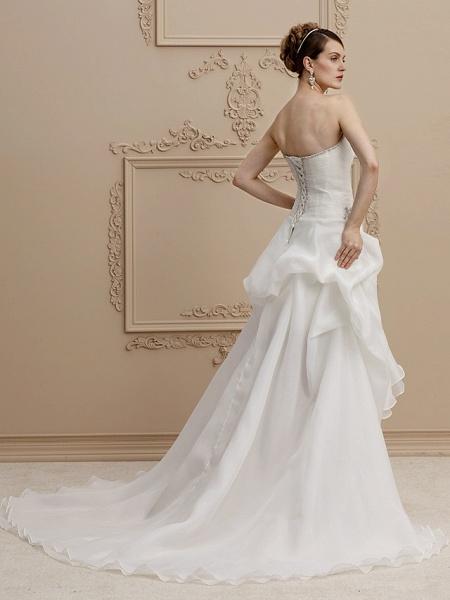 A-Line Wedding Dresses Strapless Asymmetrical Organza Sleeveless Open Back_2