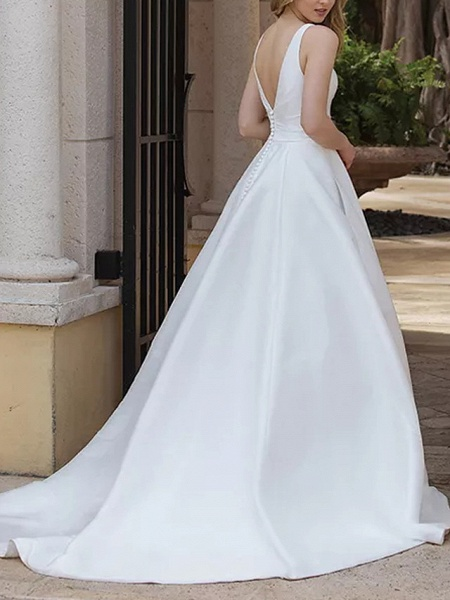A-Line Wedding Dresses V Neck Sweep \ Brush Train Satin Sleeveless Country Plus Size_3