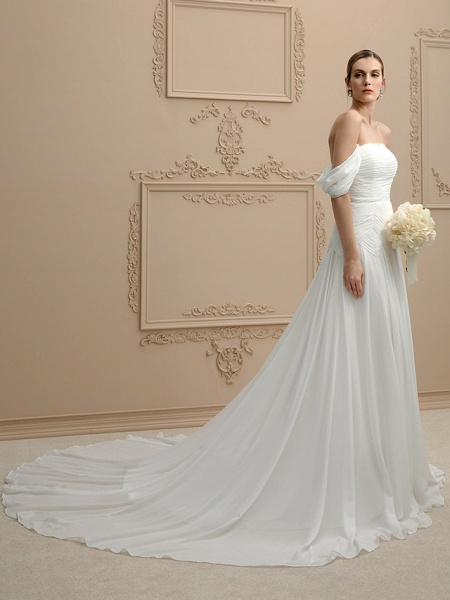 Princess A-Line Wedding Dresses Strapless Cathedral Train Chiffon Sleeveless Open Back_3