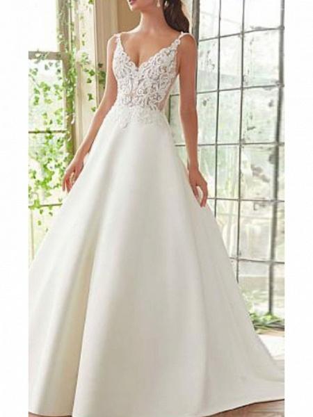 A-Line Wedding Dresses V Neck Court Train Lace Satin Spaghetti Strap_1